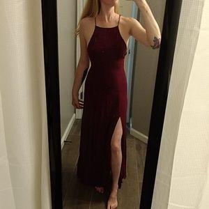 Burgundy maxi dress with leg slits NWOT